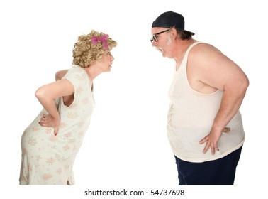 Bickering couple facing each other on white background