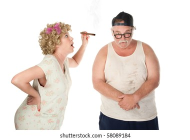 Bickering wife with cigar confronting husband on white background