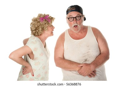 Bickering wife confronting husband on white background