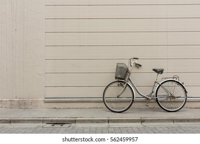 Bicycle again concrete wall