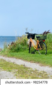 Bicycle at the beach of the island Moen, Denmark