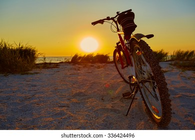 Bicycle at the beach on twilight time