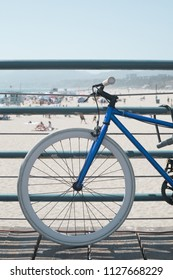 Bicycle in a beach pier in California