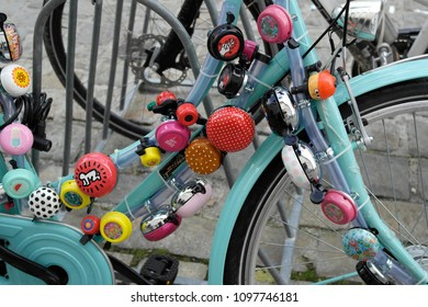 Bicycle bells on a bicycle , Amsterdam city, Amsterdam ,Netherlands  09/15/2017. For editorial use only