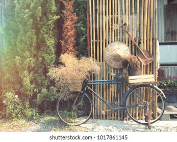 Bicycle bike with flowers, vintage style in the garden background