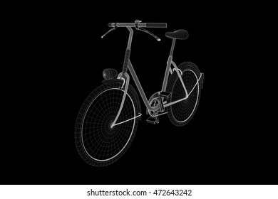 Bicycle Bike in Hologram Wireframe Style. Nice 3D Rendering