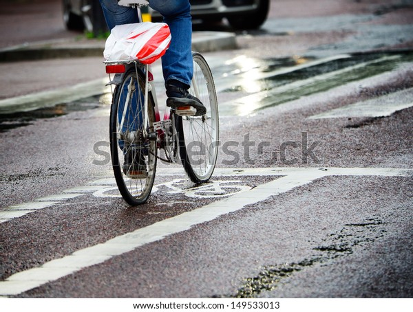 Bicycle in bike lane, after rains