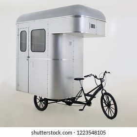 Bicycle caravan in white background.