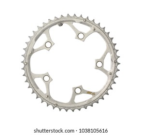 Bicycle chainring (with clipping path) isolated on white background