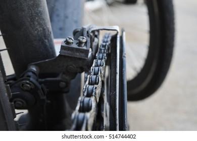 A bicycle chains, macro shot