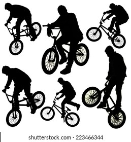Bicycle collage. Boy on BMX bike isolated on white