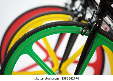 Bicycle colors weels bike product shot green red yellow