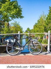 A Bicycle In Delft, Netherlands