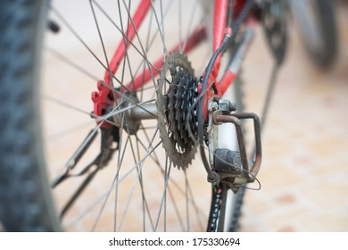 Bicycle dirty chain , gears and rear derailleur