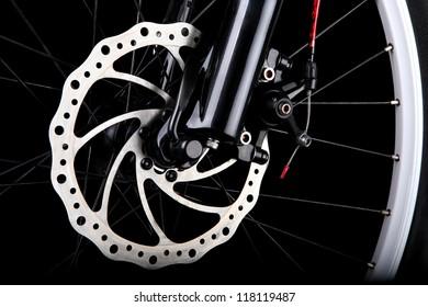 Bicycle disc brake. Front disc brake on mountain bike