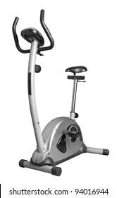 Bicycle exercise machine isolated on white