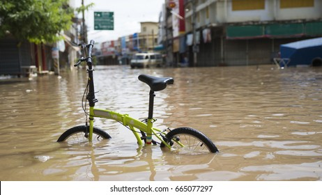Bicycle in flooded water