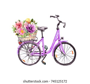 Bicycle with flowers in basket. Watercolor