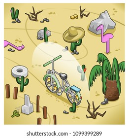Bicycle following a narrow track in desert with cactus, rocks and flamingo dummies (isometric illustration)