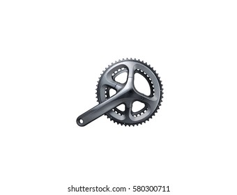Bicycle gear, metal cogwheel. Close up of gear train rear wheel for mountain bike isolated on white background