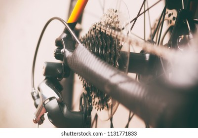 Bicycle gears cassette and chain on the road bike