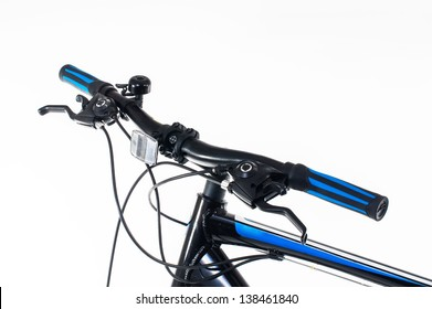 bicycle hand brake and shifter on white
