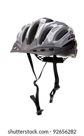 Bicycle Helmet With A Chin Strap Isolated Against A White Background, Vertical Framing