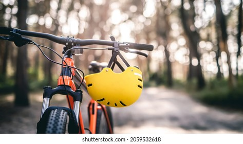 Bicycle and helmet on handlebar on sunny forest background