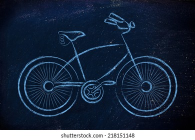 bicycle illustration, symbol of active life and sustainable living