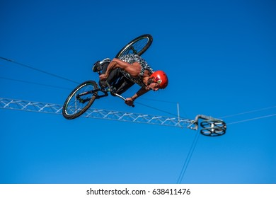 Bicycle Jumping Contest, People have fun during Pride Bicycle Jumping Contest, 2016 August 26, Kyiv (Kiev), Ukraine.