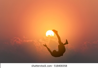 Bicycle kick the sun on sunset background