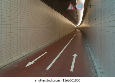 Bicycle lane in the Benelux Tunnel, connecting the north and south Maas river quay in Rotterdam, netherlands