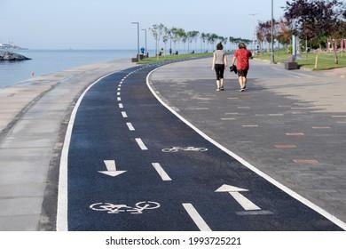 bicycle lane and by the walking path, coastal road, moda, kadikoy, istanbul, - Shutterstock ID 1993725221
