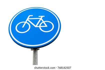 Bicycle lane marking, round blue road sign isolated on white background. Amsterdam, Netherlands