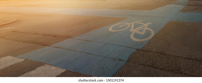 Bicycle lane with the morning light in Copenhagen, Denmark.