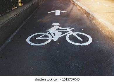Bicycle lane on the street at the Benjakiti Park in Bangkok.