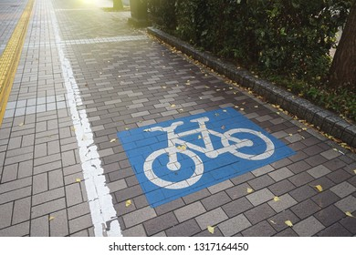 Bicycle lane on the walkway in the City near the city road.