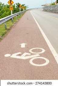 Bicycle lane bicycle path and coastal road in Thailand