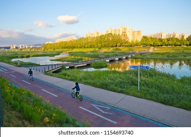 The bicycle lane at river park in Daejeon city, South Korea.