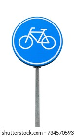 Bicycle lane, round blue road sign isolated on white background