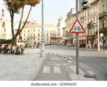 Bicycle lane sign on street