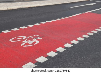 Bicycle lane in Stockholm, Sweden. Cycling transportation infrastructure.