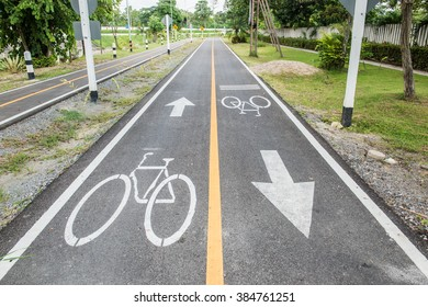 Bicycle lane in Thai, Thailand.