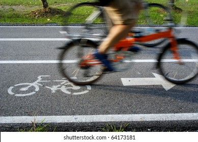 Bicycle lane, two bicycles