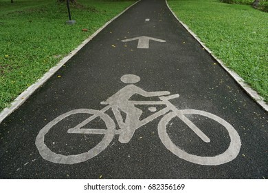 Bicycle lanes or Bike lanes or Cycle lanes or Cycleways in public park, Bangkok, Thailand