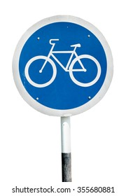A bicycle lollipop signboard, isolated against white.