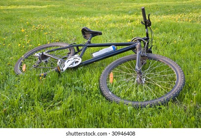 Bicycle lying on green grass