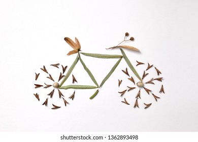 Bicycle made from leaves and pine seeds presented on a gray background with space for text. The concept of sports and healthy lifestyle. Flat lay