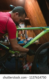 bicycle mechanic. repairing.