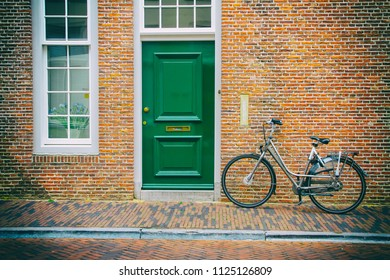 Bicycle and old house in Utrecht, Netherlands